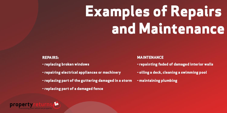 Examples of depreciating repairs maintenance